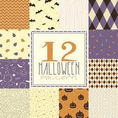 12 halloween patterns — Stock Vector