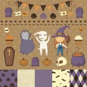 Halloween scrapbook set — Stok Vektör