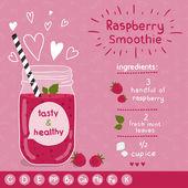 Raspberry smoothie recipe — Stock Vector