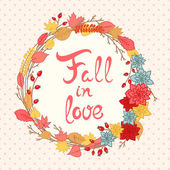 Autumn Floral Frame — Stock Vector