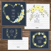 Cards with floral bouquets and wreath elements — Vecteur