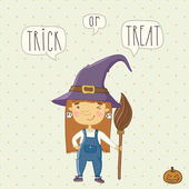 Little cute witch — Vetorial Stock