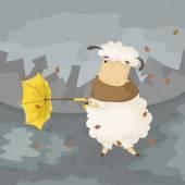 Sheep with umbrella — Stock Vector