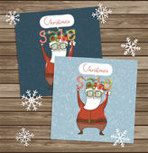 Santa Clauses  cards — Stock Vector