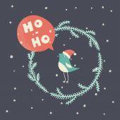 Christmas card with  bullfinch — Stock Vector