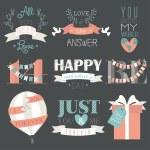 Valentine's Day symbols and design elements — Stock Vector #69683313