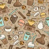 Doodle coffee seamless pattern — Stock Vector