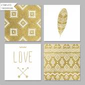 Gold design card templates — Stock Vector