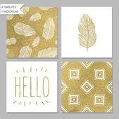 Gold design card templates — Stock Vector