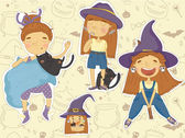 Cute little witches — Stock vektor