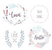 Design floral Kränze und Typografie — Stockvektor