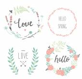 Design floral wreaths and typography — Vector de stock