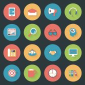 Marketing flat icons set — Stock Vector