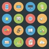 SEO flat icons set — Stock Vector