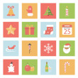 Christmas and New Year flat icons set — Stock Vector #54562747