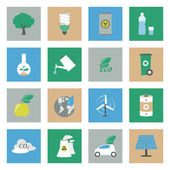 Ecology flat icons set — Stock Vector