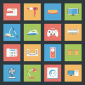 Home Furniture and Appliances flat icons set — Stock Vector