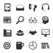 Marketing black and white flat icons set — Vecteur
