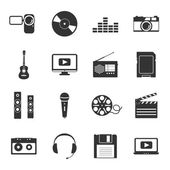 Multimedia black and white flat icons set — Vector de stock