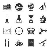 School black and white flat icons set — Vecteur