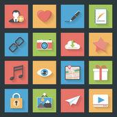 Site web de socia icônes plat ensemble — Vecteur