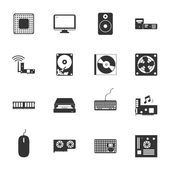 Computer peripherals and parts black and white flat icons set — Stock Vector