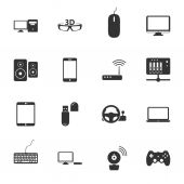 Computers, peripherals and network devices black and white flat icons set — Stock Vector