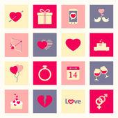 Valentine's day flat icons set — Vector de stock