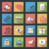 Socia media web flat icons set with longshadow — Stock Vector