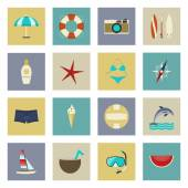 Beach vacation and travel flat icons set — Vector de stock