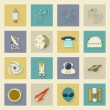 Astronautics and Space flat icons set with shadows — Stock Vector #59687745