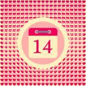 Calendar date February 14 Valentine's day — Stock Vector