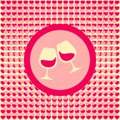 Two glasses filled with wine clink — Stock Vector