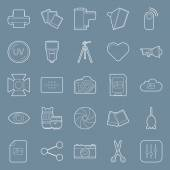 Photo equipment end editing thin lines icons set — Stock Vector