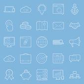 Seo and e-marketing thin lines icon set — Stock Vector