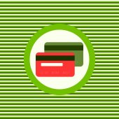 Red and green credit cards color flat icon — Stock Vector