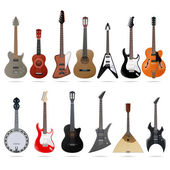 Acoustic and electric guitars set — Stock Vector