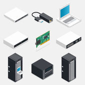 Networking isometric detailed icons set — Stock Vector