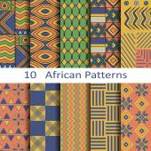 Set of ten African patterns — Stock Vector