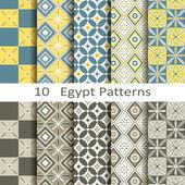 Set of ten Egypt patterns — Stockvektor