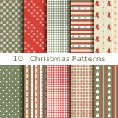 Set of ten Christmas patterns — Stockvektor