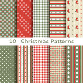 Set of ten Christmas patterns — ストックベクタ