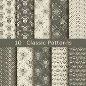 Set of ten classic patterns — Stock Vector