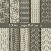 Set of ten vintage patterns — Stok Vektör