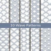 Set of ten wave patterns — Stock Vector