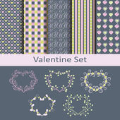 Valentine set with patterns and stickers — Stock Vector