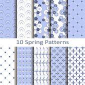 Set of ten spring patterns — Stock Vector