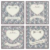 Set of four postcards for St Valentine Day — Stock vektor
