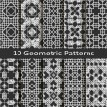 Set of ten geometric patterns — Stok Vektör #60748959