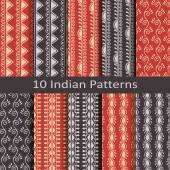 Set of ten indian patterns — Stock Vector